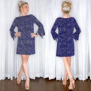 Tahari Navy Blue Long Sleeve Dress